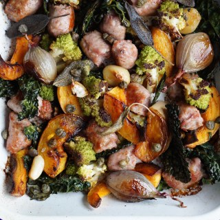 Tray Roasted Butternut, Romanesco and Sausage with Sage Oil {AIP, GAPS, SCD, Paleo, Whole30}