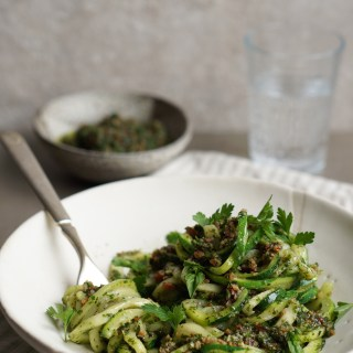 Zucchini Pasta with Bacon Pesto {AIP, GAPS, SCD, Paleo}