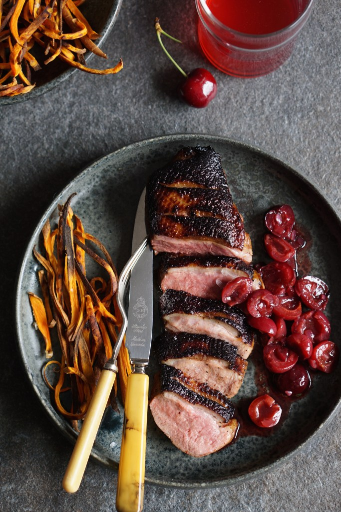 duck breasts with spiced cherries {HFE}