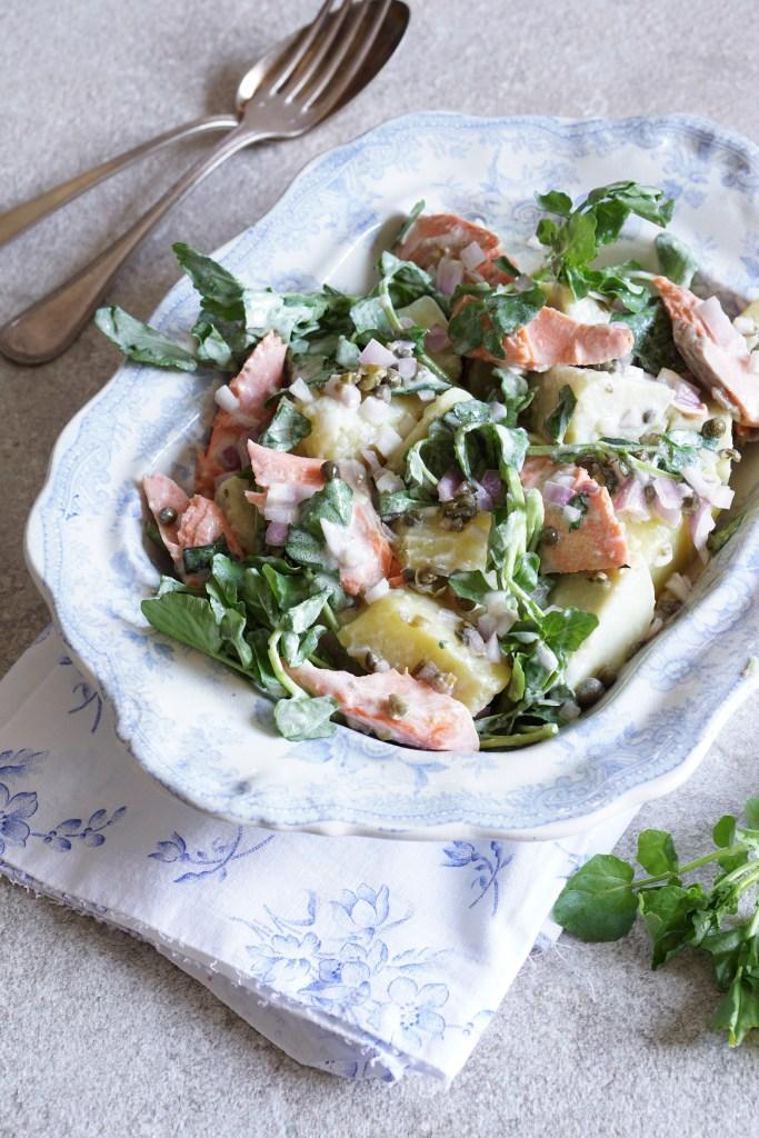 Salmon Sweet Potato Watercress Salad Turmeric Cream