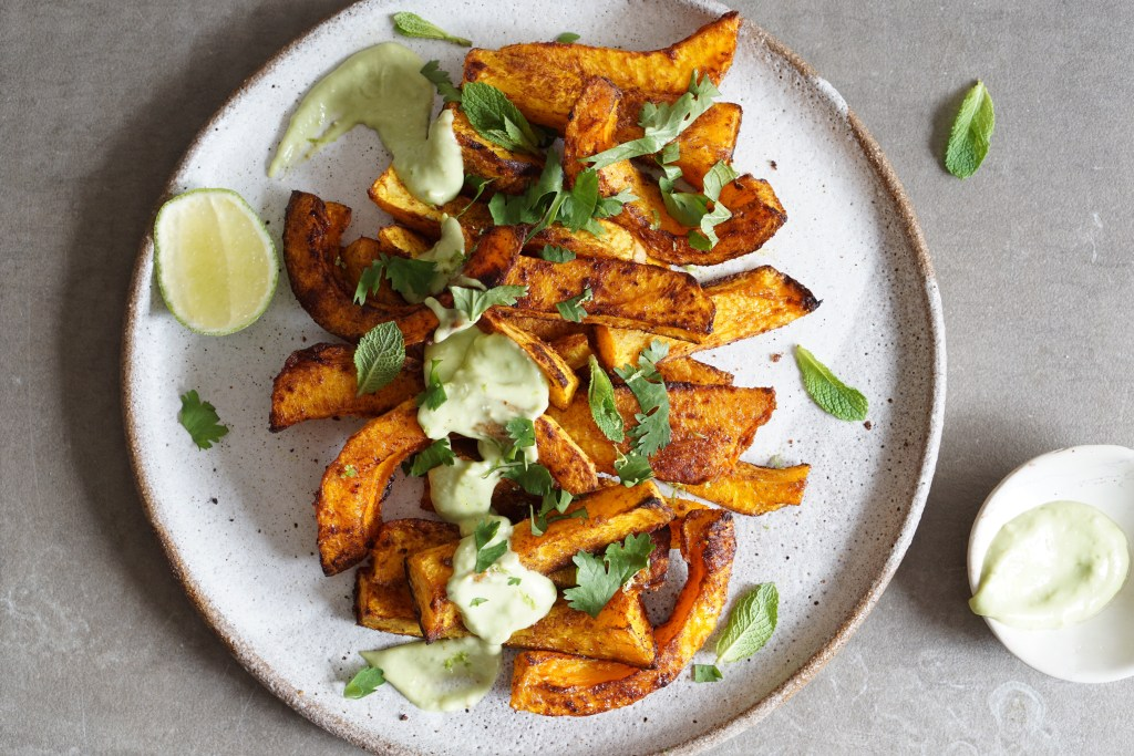 Spiced Butternut Wedges Avo Lime Mayo