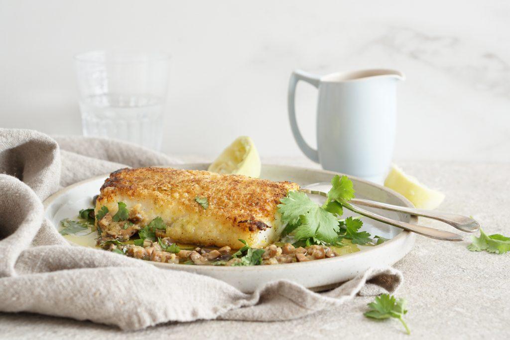Lime-Crusted Cod Warm Olive Vinaigrette {AIP}