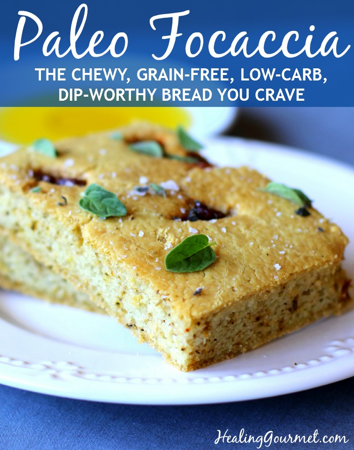 Coconut cream Paleo focaccia - delicious and chewy grain-free bread!