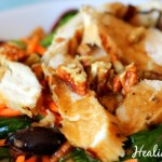 Arugula Chicken Salad with Olives & Pecans
