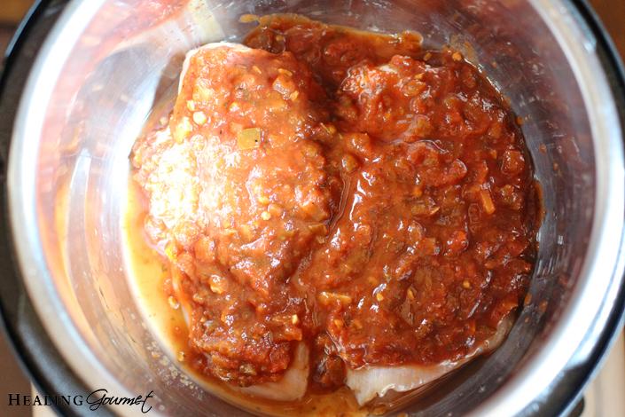 salsa over chicken to make shredded chicken