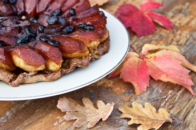 apple tarte tatin surrounded by fall leaves