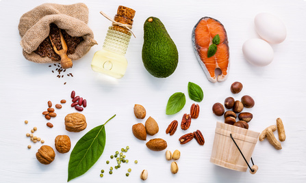 Selection food sources of omega 3 . Super food high omega 3 and unsaturated fats for healthy food. Almond ,pecan ,hazelnuts,walnuts ,olive oils ,fish oils ,salmon ,flax seeds, peanut, eggs and avocado .