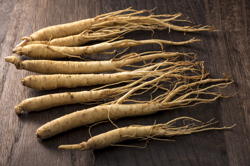 ginseng on a wooden board