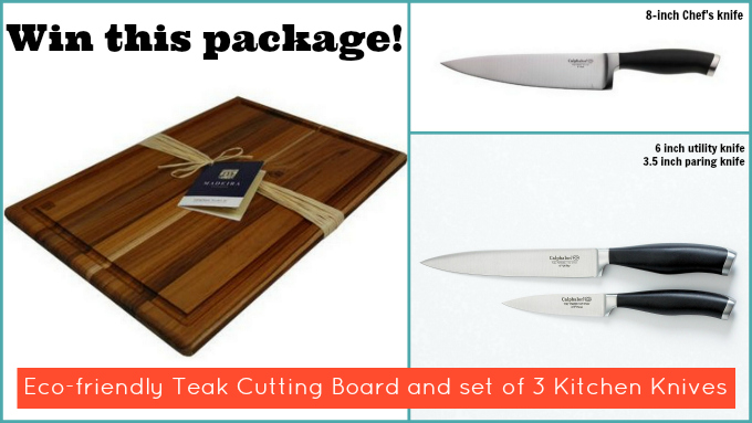 !Giveaway! Eco-friendly Teak Cutting Board and Professional Knife Set (ends 8/31)