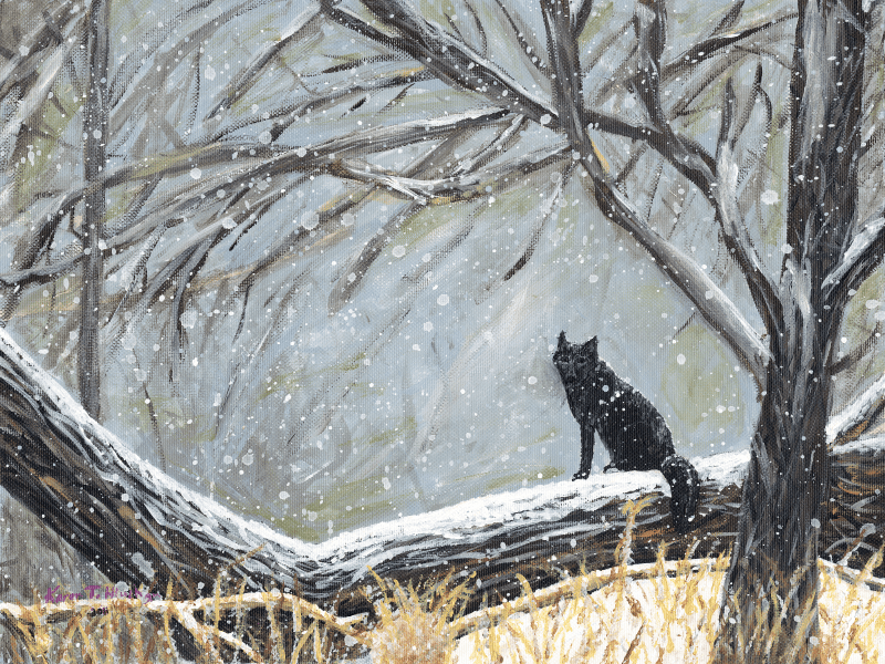 Red Fox in Black Phase Painting