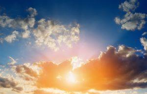 Sun bursting through the clouds