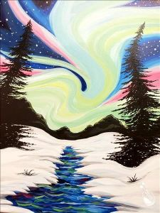 snowy scene with northern lights in the sky
