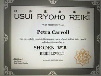 Reiki 1 certificate Lisa