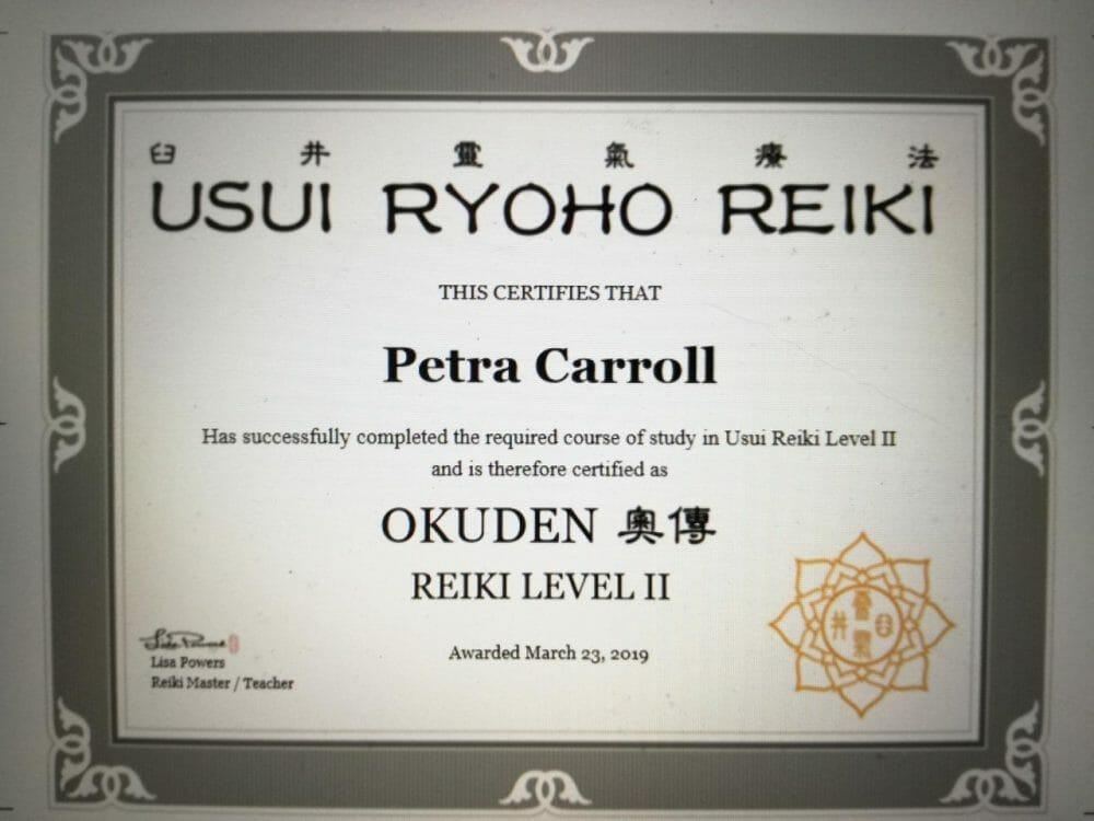 Reiki 2 Certificate Lisa