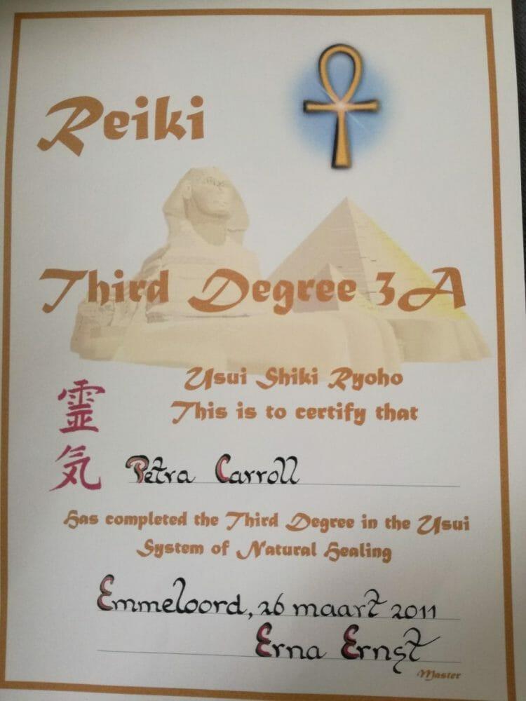 Reiki 3 Certificate Erna