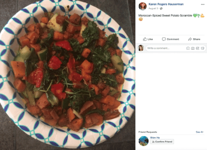Karen shares some of her whole food plant based meals on her Facebook page.
