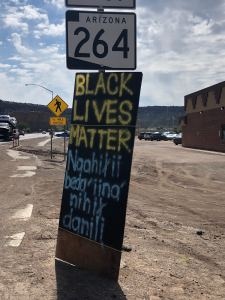 Handwritten sign of solidarity in the heart of Navajo Nation