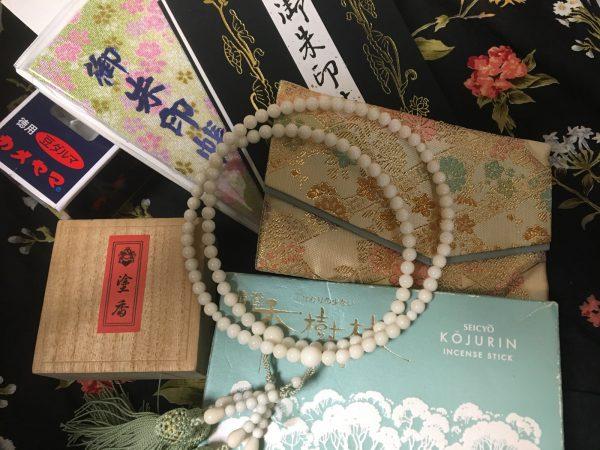 ご朱印帳、数珠、線香、ろうそく、塗香
