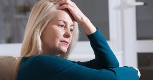 Woman experiencing menopause