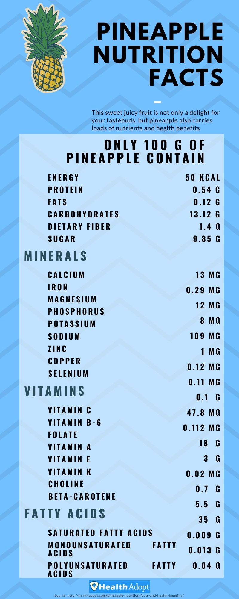 Pineapple Nutrition Facts Infographics