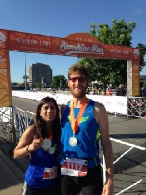 Great results: Sujata Neidig and Dylan Cornelius won age group awards at Sunshine Run 5k in 2015
