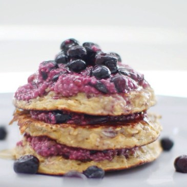Chia and Cinnamon Oat Pancakes with Blueberry Compote