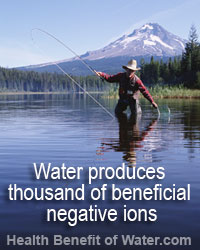 Water produces thousand of beneficial negative ions