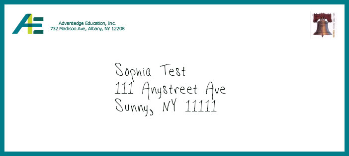 Image of an envelope sent by Advantedge Education