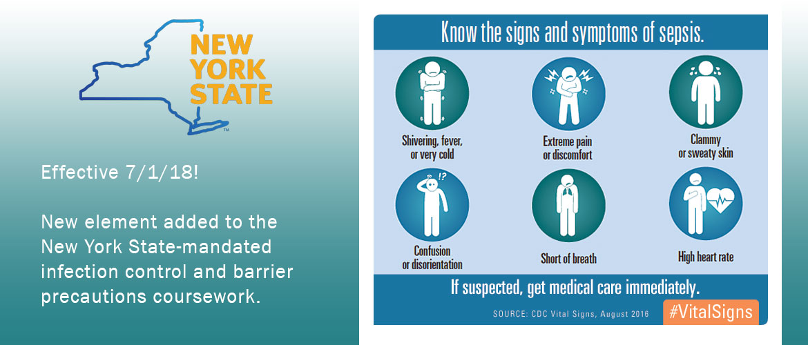 New element added to the New York State-mandated infection control and barrier precautions coursework.