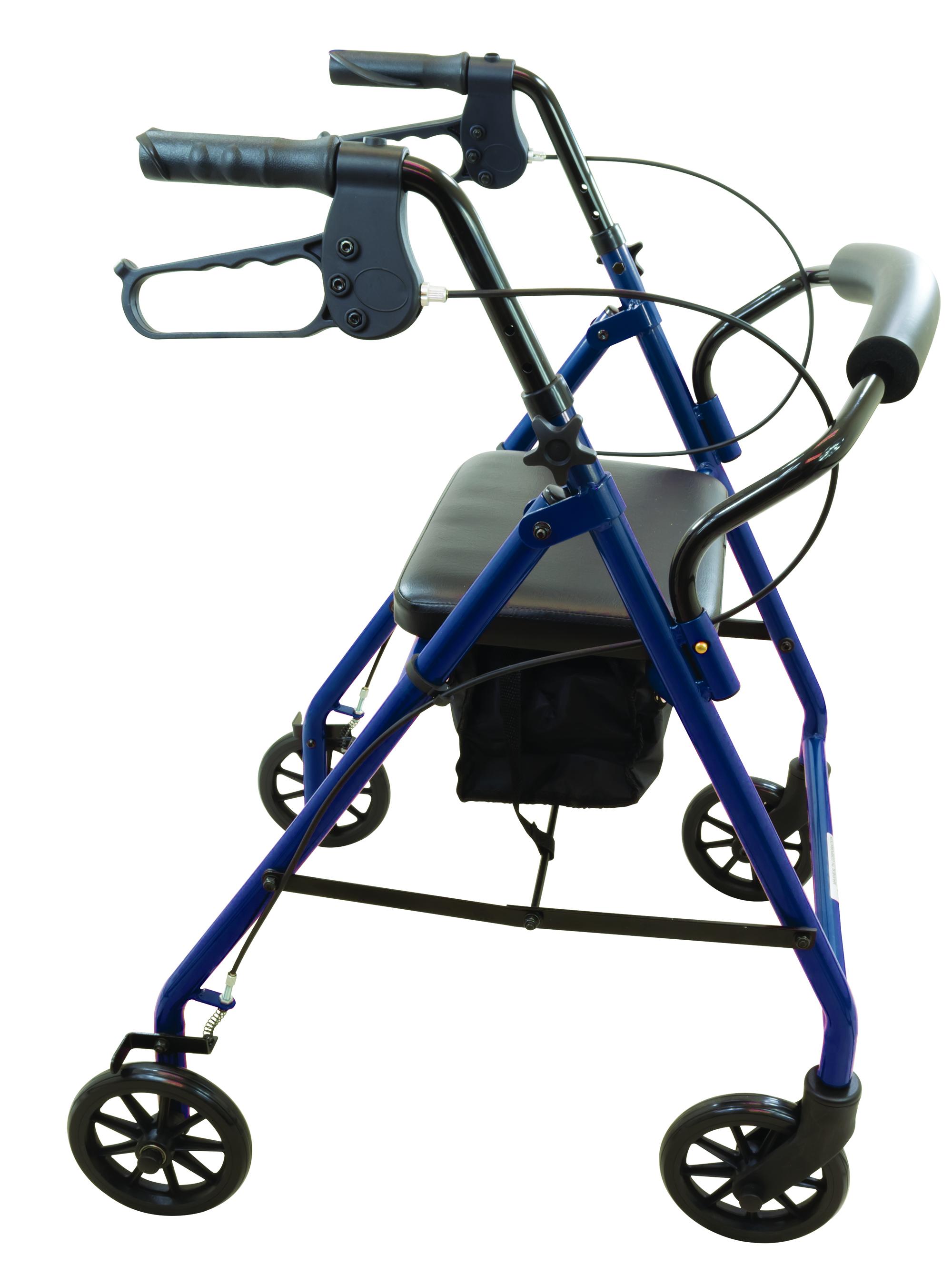 ProBasics Steel Rollator 6″ Wheels Burgundy & Blue 300 lb Weight Capacity Walker Michigan USA