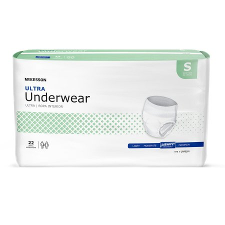 Unisex Adult Absorbent Underwear McKesson Ultra Pull On with Tear Away Seams Small Disposable Heavy Absorbency