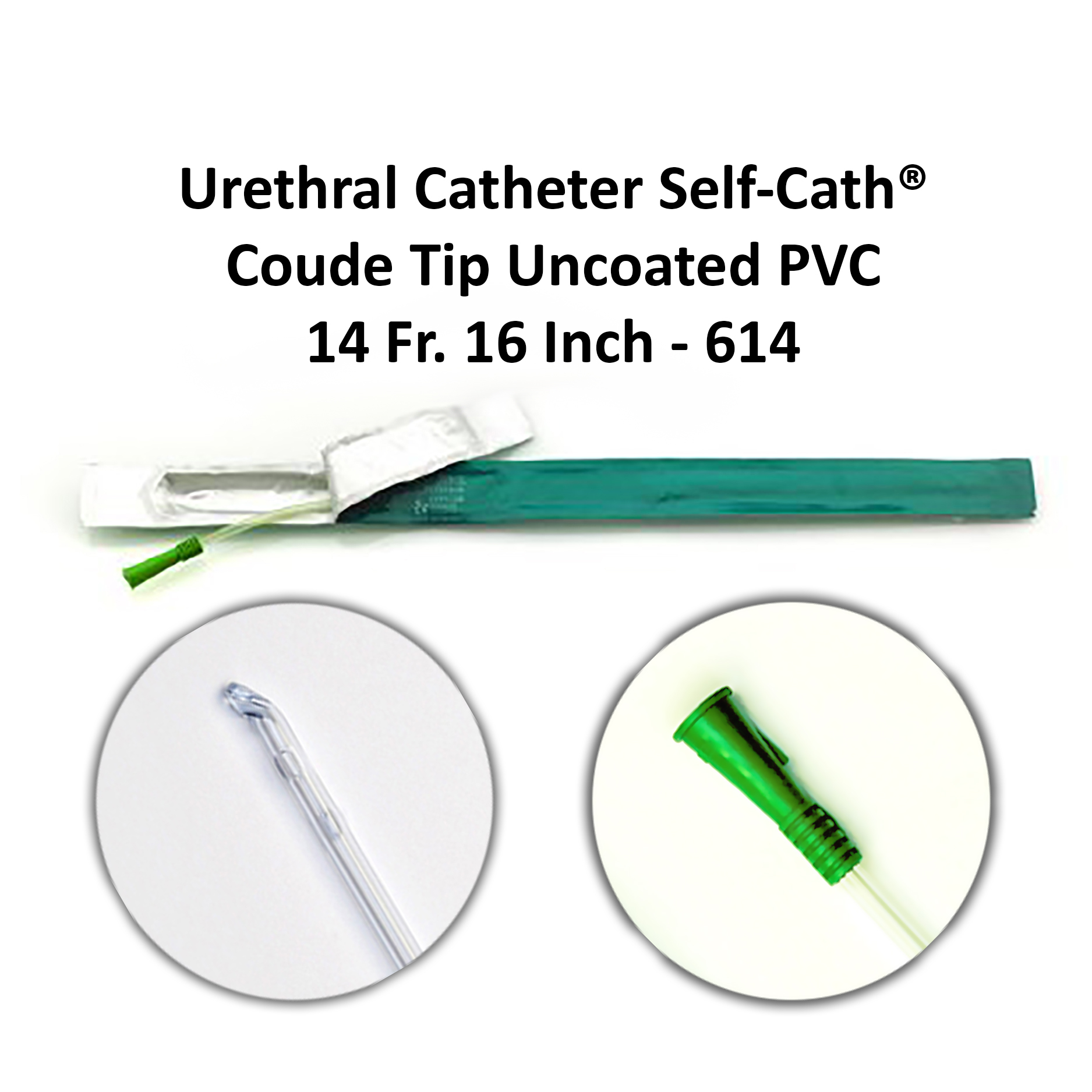 Urethral Catheter Self-Cath® Coude Tip Uncoated PVC 14 Fr. 16 Inch - 614