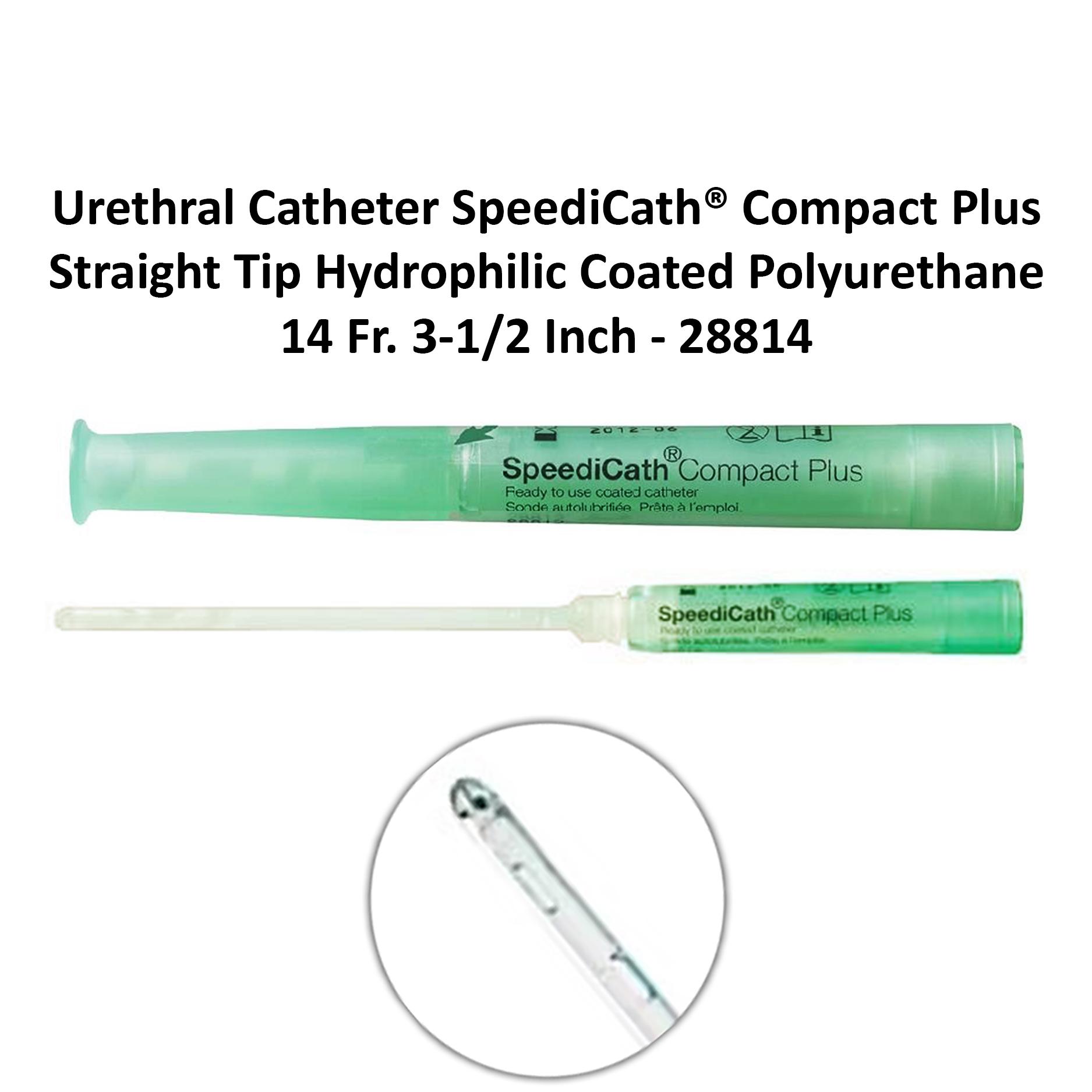 Urethral Catheter SpeediCath® Compact Plus Straight Tip Hydrophilic Coated Polyurethane 14 Fr. 3-1/2 Inch - 28814 Michigan | USA