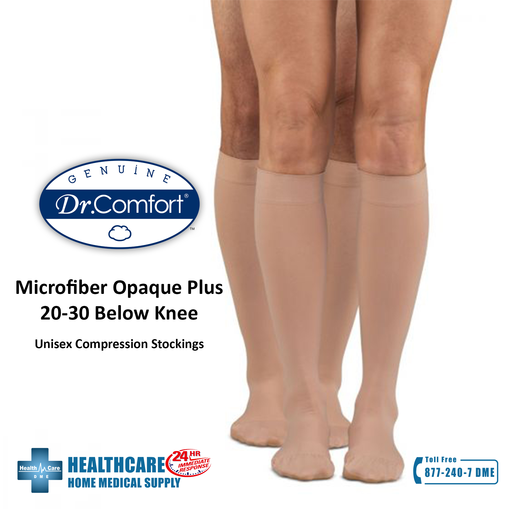 Dr. Comfort Microfiber Opaque Plus 20-30 Below Knee | Michigan USA Unisex Compression Stockings