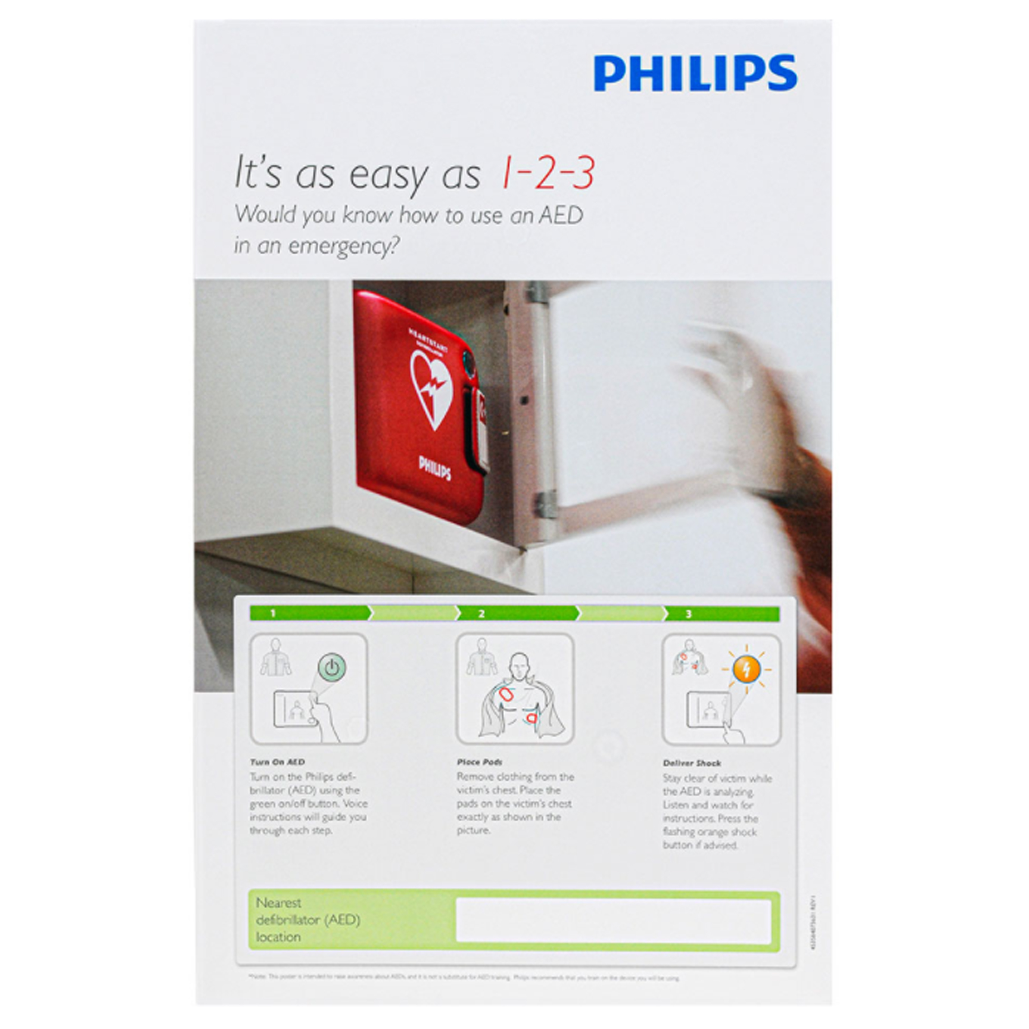 Philips AED Awareness Poster Pack - (4 pack) 861476 in Michigan USA
