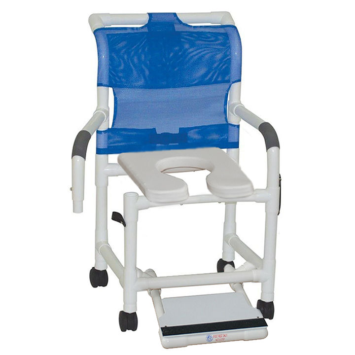 """MJM Shower chair 18""""- with double drop arms - slide out footrest & open front soft seat - 118-3TW-DDA-SF-SSDE"""