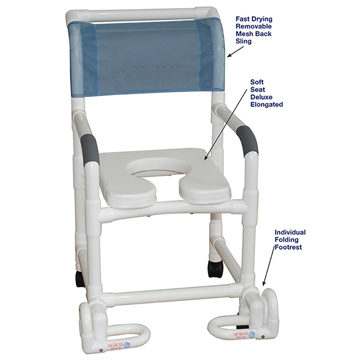 MJM SHOWER CHAIR WITH SOFT SEAT & INDIVIDUAL FOOTREST in Michigan USA