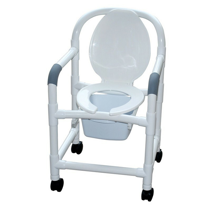 """MJM Bedside commode Chair 22"""" with standard caster & commode pail - 122-CC-10-QT-C"""
