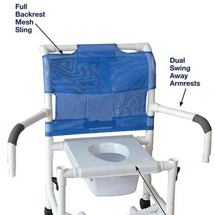 "MJM Wide shower chair 22""- open front seat- double drop arms & Square Pail - 4"" heavy duty casters - 122-4HD-DDA-SQ-PAIL"