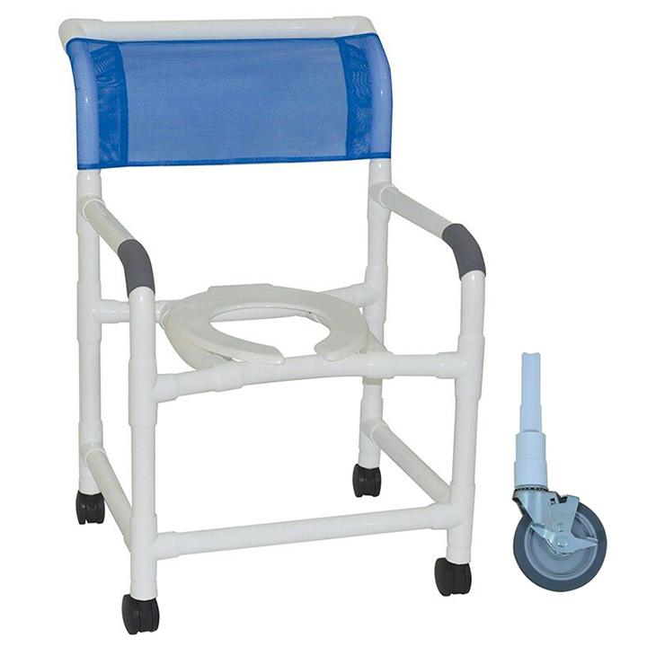 "MJM Wide shower chair 22""- open front seat- 5"" heavy duty casters - 122-5HD"