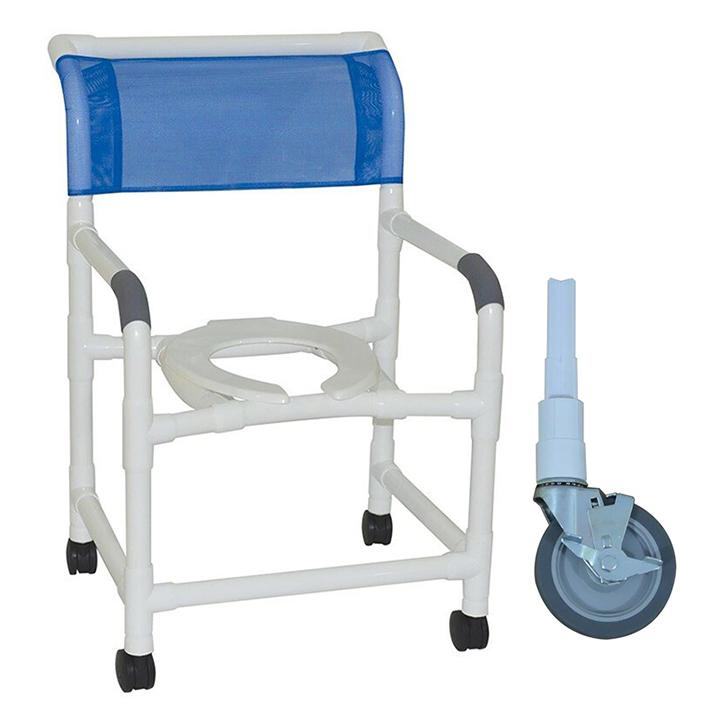 """MJM Wide shower chair 22""""- open seat- 5"""" heavy duty ALL BRAKE casters - 122-5HDB"""