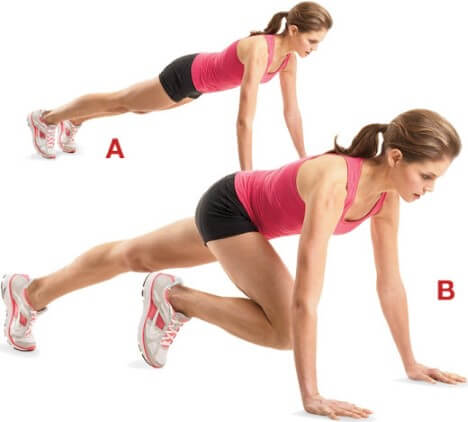 Push Up and Knee Kicks Exercise
