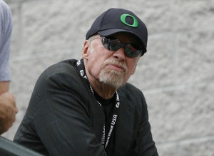 Knight watches at the U.S. Olympic athletics trials in Eugene