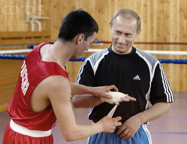 Vladimir Putin Attends Russian Team Boxing Training