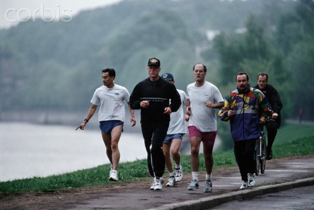President Clinton and Strobe Talbott Jogging in Moscow