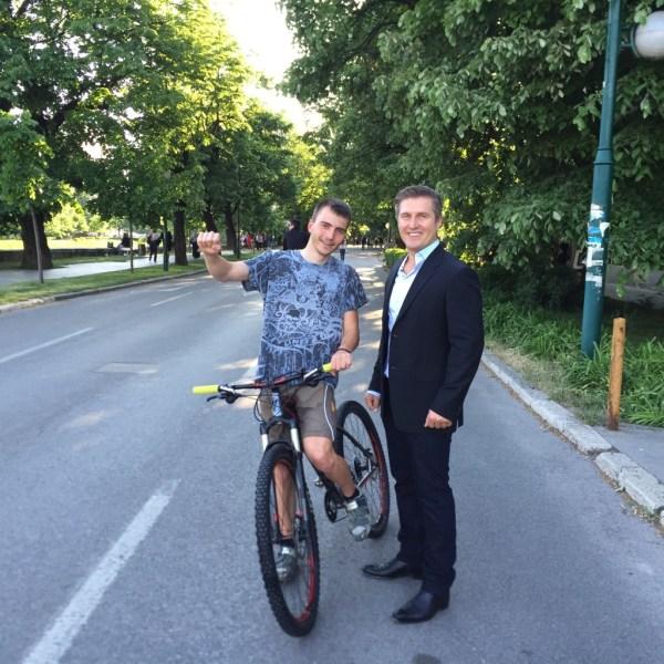 Samir Becic with cycling pro Benjamin Muric