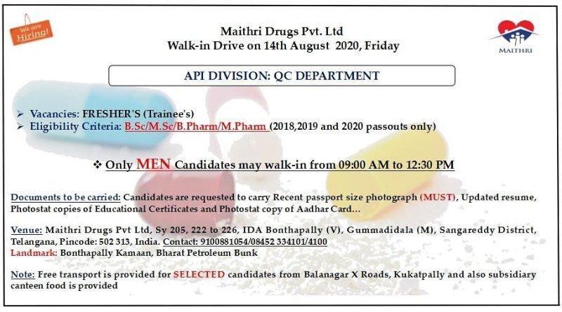 Maithri Drugs Pvt Ltd walk in drive for fresher bsc msc b pharm m pharm on 14 aug 2020