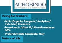 AUROBINDO Urgent Hiring Freshers for Quality Control MSAT Strategic Purchase Departments