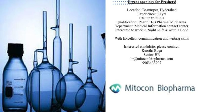 Mitocon Biopharma Urgently Opening for Fresher  Apply Now
