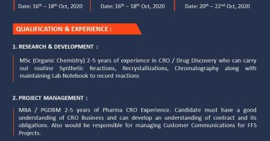 Piramal Pharma Solutions Virtual Drive for Research Associate R and D Sr Research Associate on 16th to 18th and 20th to 22nd Oct 2020